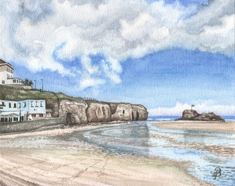 Perranporth beach in watercolor, archival art print of original watercolor painting, happy English summer memory, by David Platt