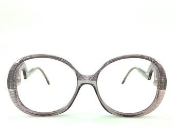 Vintage Eyeglass Frame | Clear Purple | Oversize Round Glasses - Grenoble Col 2