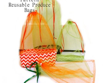 Reusable Produce Bags - Waste Free PDF Sewing Pattern in 3 styles, drawstring, reinforced bottom, and elastic - 3 sizes