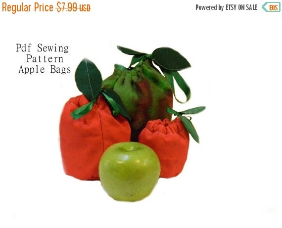 FLASH SALE 75% Off Apple Lunch Bag and Snack Sacks PDF Sewing Pattern 3 Sizes Reusable, eco-friendly, no waste, green, easy, beginner