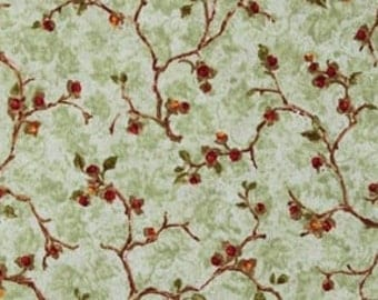 Benartex - Bittersweet - By Nancy Halverson - Design #2094 - Floral Branches & leaves on a Sage Green Background - Cotton Woven Fabric