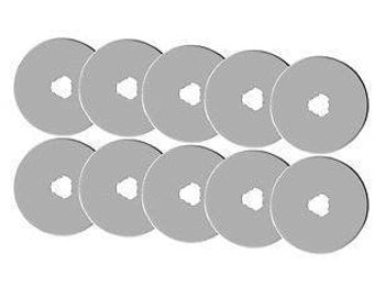 Replacement Rotary Blades - 10 Blades per package - Fits Olfa, Fiskars, KAI & more - 3 Sizes to Choose From