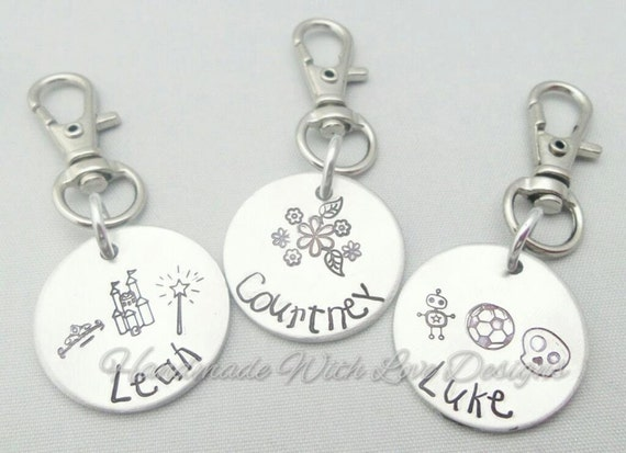 Name tags, School bags, Book bags, Coat tags labels - handstamped personalised tags