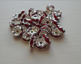 50 pc 8mm Red Crystal Rhinestone Rondelle Silver Spacers