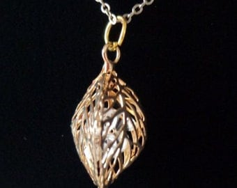 Captured Rhinestones in a Gold Leaf Necklace, Leaf Charm Necklace,Fall Necklace
