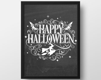 Happy Halloween Print - Halloween Art Print - Halloween Decor - Fall Decor - Art Prints - Halloween Printables - Instant Download - 8x10