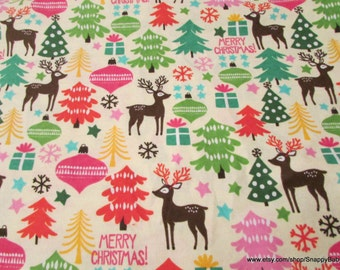 Christmas Flannel Fabric - Reindeer Forest Christmas - 1 yard - 100% Cotton Flannel