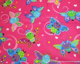 Flannel Fabric - Happy Butterfly Pink - 1 yard - 100% Cotton Flannel