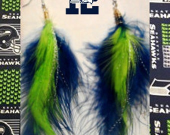 Seahawks colored feather Earrings
