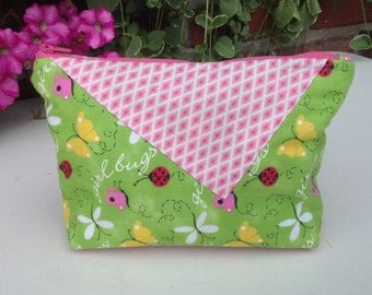 Makeup bag, cosmetic case, wristlet, green and pink