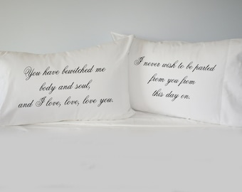 Pride and Prejudice Pillowcase Set, his hers pillowcase set, mr mrs pillowcase set
