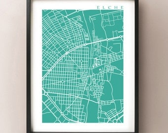 Elche Map - Elx, Spain Art Print