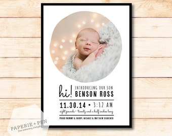Modern Simple Baby Announcement, 2-3 Day Turnaround!