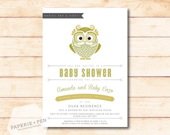Baby Shower Owl Invitation, 2-3 Day Turnaround!
