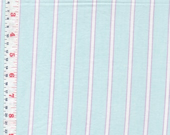 Striped Fabric Mint, Violet, White Cotton, Cotton Blend Circa 1980  - by the Piece Length Available: 1 7/8 yards