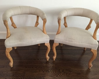Vintage FAUX BOIS Chairs Occasional - A Pair
