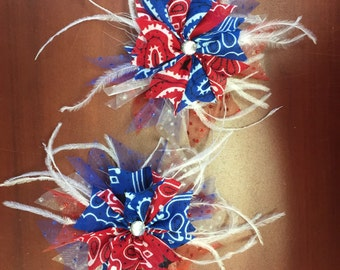 Feather Cowgirl Boot Bow Set
