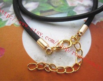 Gold plated finish--Wholesale 50pcs 16 inch 3mm Black tube cord necklace with lobster clasps plus 2 inch extender