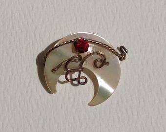 Vintage Antique Crescent Moon Brooch Piece