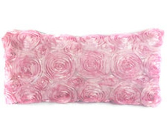 "Satin Rosette Pillow Rectangular 12"" X 24"""