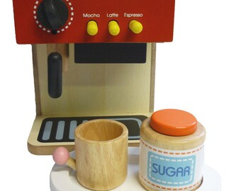 Children espresso machine made of wood