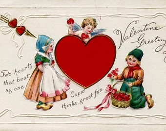 Two Hearts That Beat as One Valentine Greeting 1915 A Beauty!