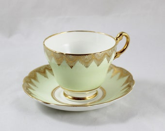 Regency Bone China Gold and Cream Teacup and Saucer set