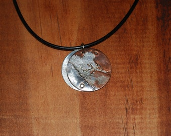 Silver and Copper Pendant on Cord