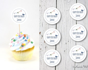 6 cupcake Topper flags Muffindeko happy birthday with an individual name