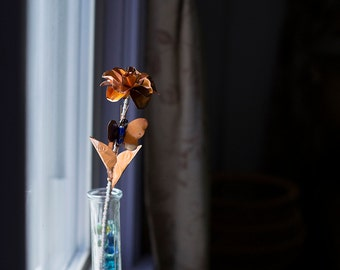 Small Hand Made Copper Rose w/Butterfly and Vase