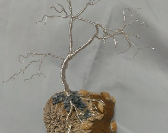 Silver Tree on Coral Sculpture