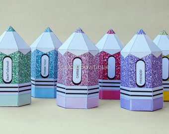 Editable Glitter Pencil Favor Box Set, Back to school Parties, Back to School Favor Box, Teacher Appreciation