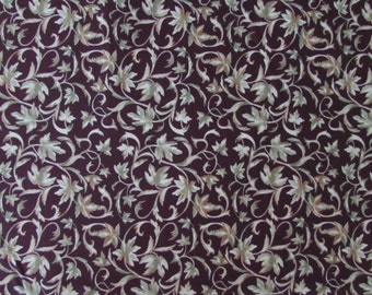 Per Yard, Wine Country Grape Leaves Fabric Deep Purple Background From SPX