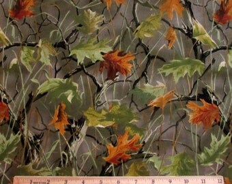Per Yard, Hauntman Camo Fabric Olive Green Background From