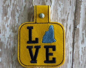 New Hampshire LOVE  - In The Hoop - Snap/Rivet Key Fob - DIGITAL Embroidery Design