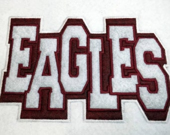 EAGLES Double Applique - School Spirit - 3 Sizes Included - Embroidery Design -   DIGITAL Embroidery DESIGN