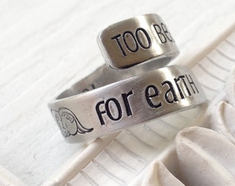 Too Beautiful for Earth Angel Aluminum Wrap Ring
