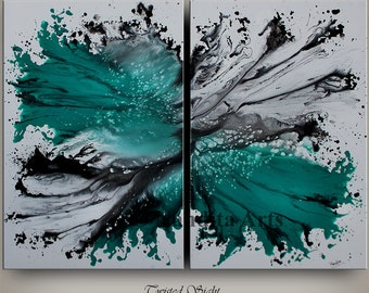 Large ABSTRACT MODERN PAINTING Original art Contemporary Art Daily Colorful Huge Painting Canvas Art Turquoise artwork Room Decor Nandita