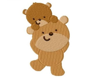 Embroidery Design Bear Daddy and Baby 4'x4' - DIGITAL DOWNLOAD PRODUCT