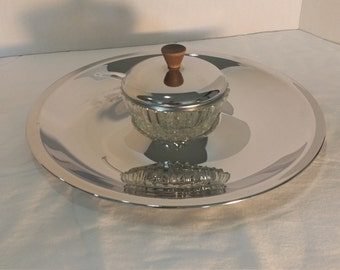 Kromex Serving Tray with Condiment Dish