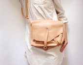 Light Brown Leather Messenger Bag, Leather Small Shoulder Bag, Cross Body Leather Bag, Bag For Women, Capacious Small Bag, Beige Leather Bag
