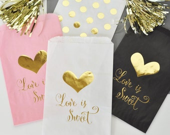 24 - Love is Sweet Treat Bags - Pink, Black or White