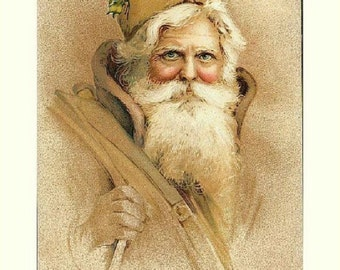 "Victorian Olde World Santas.  Artist unknown, 11x14"" canvas art print"