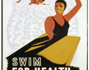 Swim for Health from Health & safety, vintage health posters, swimming excercise, antique art, canvas art prints