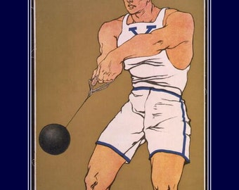 "Yale, Hammer Thrower - Vintage Sports Athletics Poster Edward Penfield 1908, 11 X 14""  canvas art print"