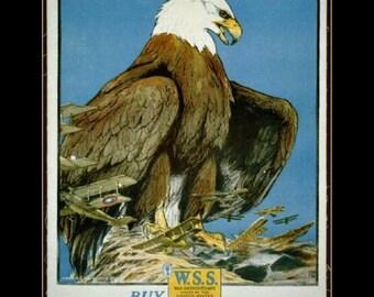 "Keep Him Free, American Eagle - War Savings Stamps - Vintage Treasury Dept. Poster. Chas. Livingston Bull 11 X 14""  canvas art print"