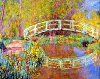 "The Japanese Bridge (The Bridge in Monet's Garden) - Claude Monet – 1895  8x10""  Canvas art print"