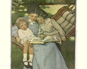 "Fairy Tales, by Jesse Wilcox Smith.  Children stories reading  8x10""  Canvas art print"