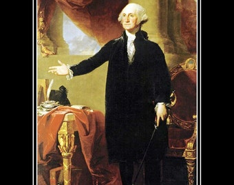 "GEORGE WASHINGTON 1796 president painting by Gilbert Stuart 8x10""  Canvas art print"
