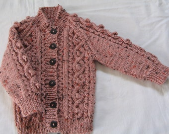 "Hand knitted Aran cardigan  Chest 22""/56cm"